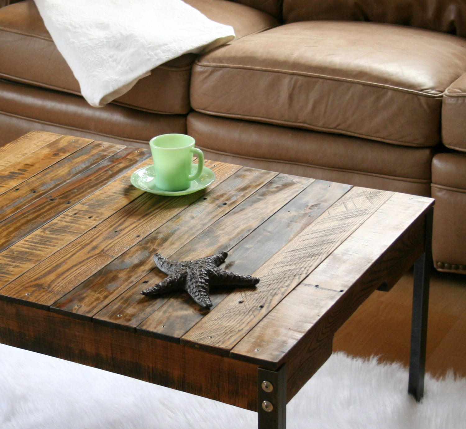 Rustic industrial reclaimed wood coffee table with iron legs for Reclaimed coffee table