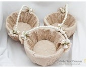 Set of 3 Lace Wedding Bridal Flower Girl Baskets Brooch Pearl Custom Basket with Brooches Crystals Handmade Flowers in Champagne and Ivory