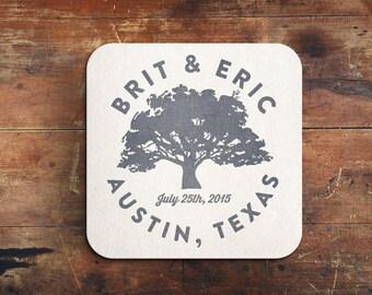 Tree Letterpress Save the Date Coaster