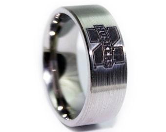 Nebraska Football Ring - Nebraska Cornhuskers Wedding Band - Licensed UNL Huskers Ring - Birthday Gift