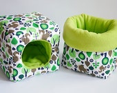 SAVE SHIPPING: 1x cosy cuddle sack / sleeping bag XXL + 1x cube for guinea pigs, hedgehogs or sugar gliders (squirrels/lime green)