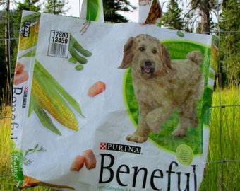 Upcycled Feedbag Tote. Dog Beneful Handmade in Kalispell, Montana USA.  FREE USA Shipping
