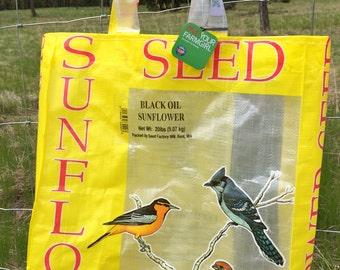 Upcycled FarmSwag Feedbag Tote. SunFlower Bird Seed - Handmade in Kalispell, Montana USA. FREE USA Shipping