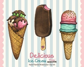 Ice Cream Clipart Hand Painted, Watercolor Food Clipart Instant Download, Cone Dessert, Summer Party Invitation, Summer Treats, Scrapbooking