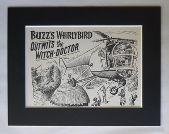 1956 Antique Helicopter Print, Storybook Decor, Available Framed, Aircraft Art, Old Whirlybird Wall Art, Boys' Adventure Gift, Buzz Picture