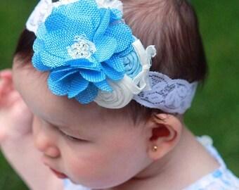 Blue Burlap Flower Headband,White Blue Headband ,Baby Blue Flower with Rosettes headband