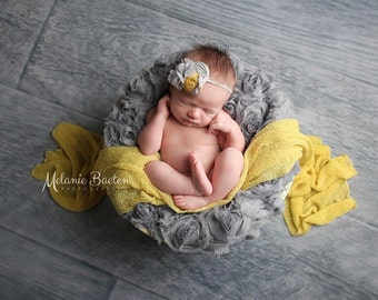 Yellow Gray Flower  Headband, Chiffon Flower in Gray  Headband, Yellow Rosettes   fabric headband