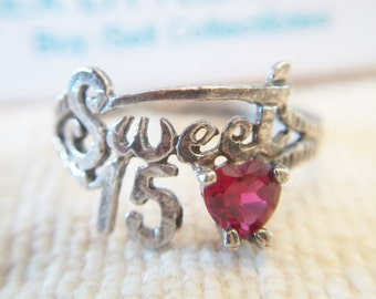 Vintage Sweet 15 Red Ruby Heart Ring Sterling Silver Traditional Quinceanera Jewelry