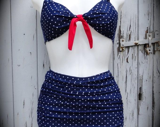 1950s Pin Up Girl Blue Polka Dot Bikini 10 12 14 16 18 Flattering Skirt Vintage Retro