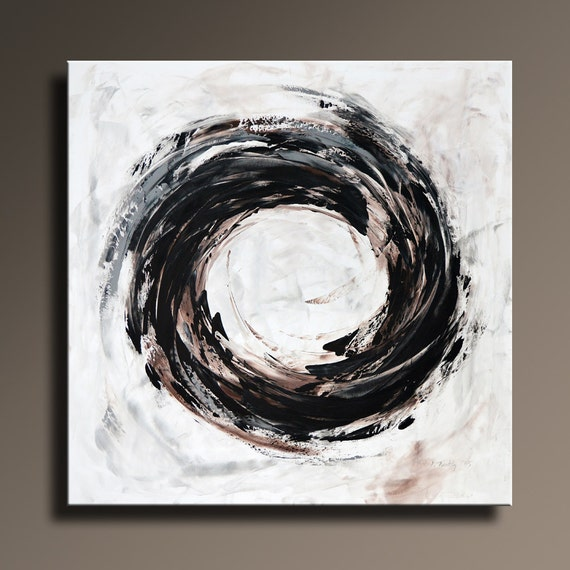 36 Original Abstract White Gray Brown Black Painting On