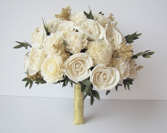 Ivory and Gold Bridal Bouquet - Bride's Flowers - Bridal Bouquet - Keepsake Wedding Bouquet - Large Bridal Bouquet - New Years Wedding