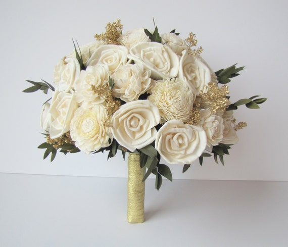 Ivory And Gold Bridal Bouquet Bride's Flowers Bridal