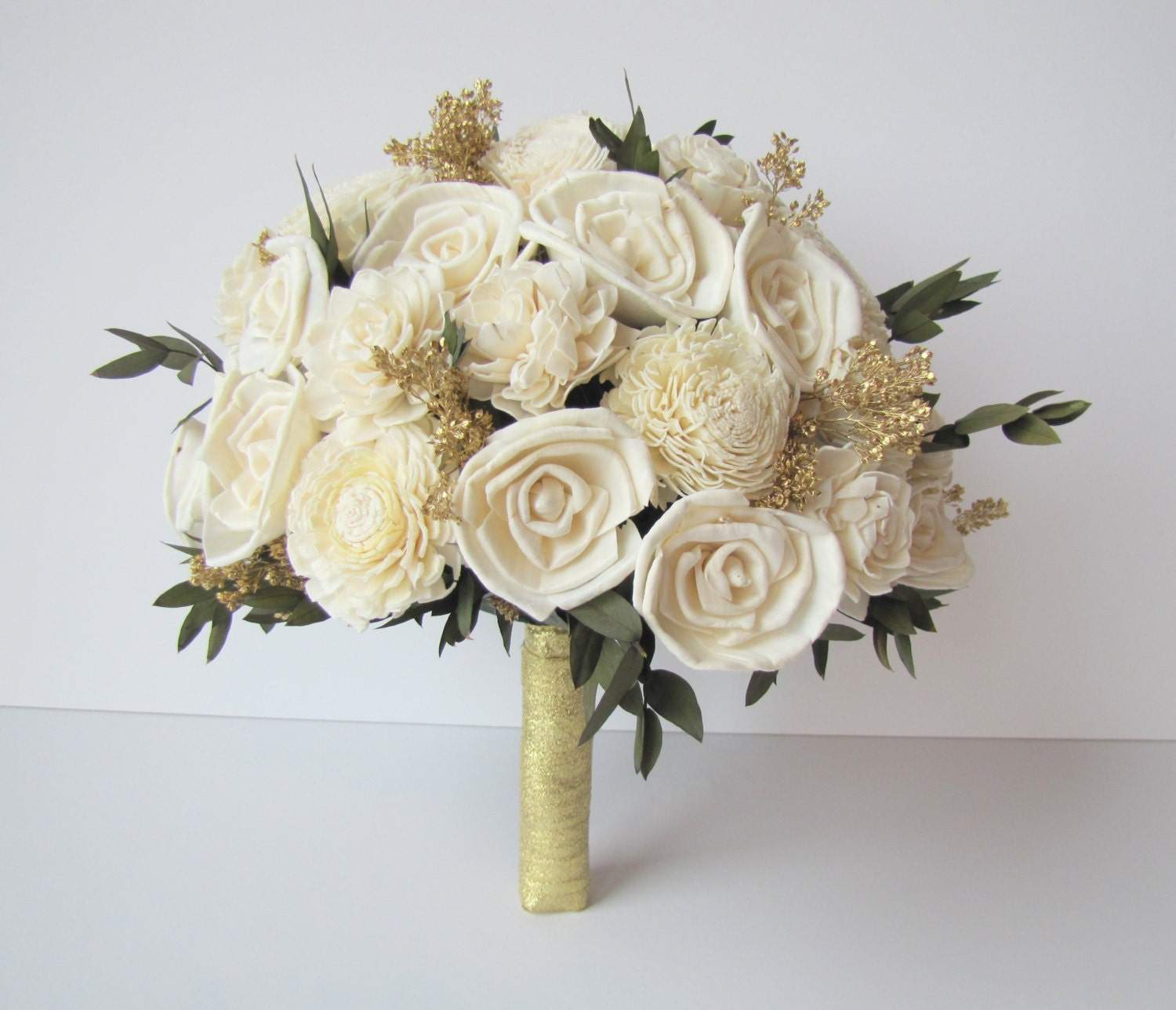 Gold Wedding Flowers: Ivory And Gold Bridal Bouquet Bride's Flowers Bridal