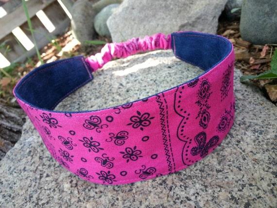 Pink Bandana Headband, Ladies Reversible Denim Headband