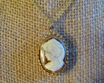Vintage double sided cameo necklace on gold chain