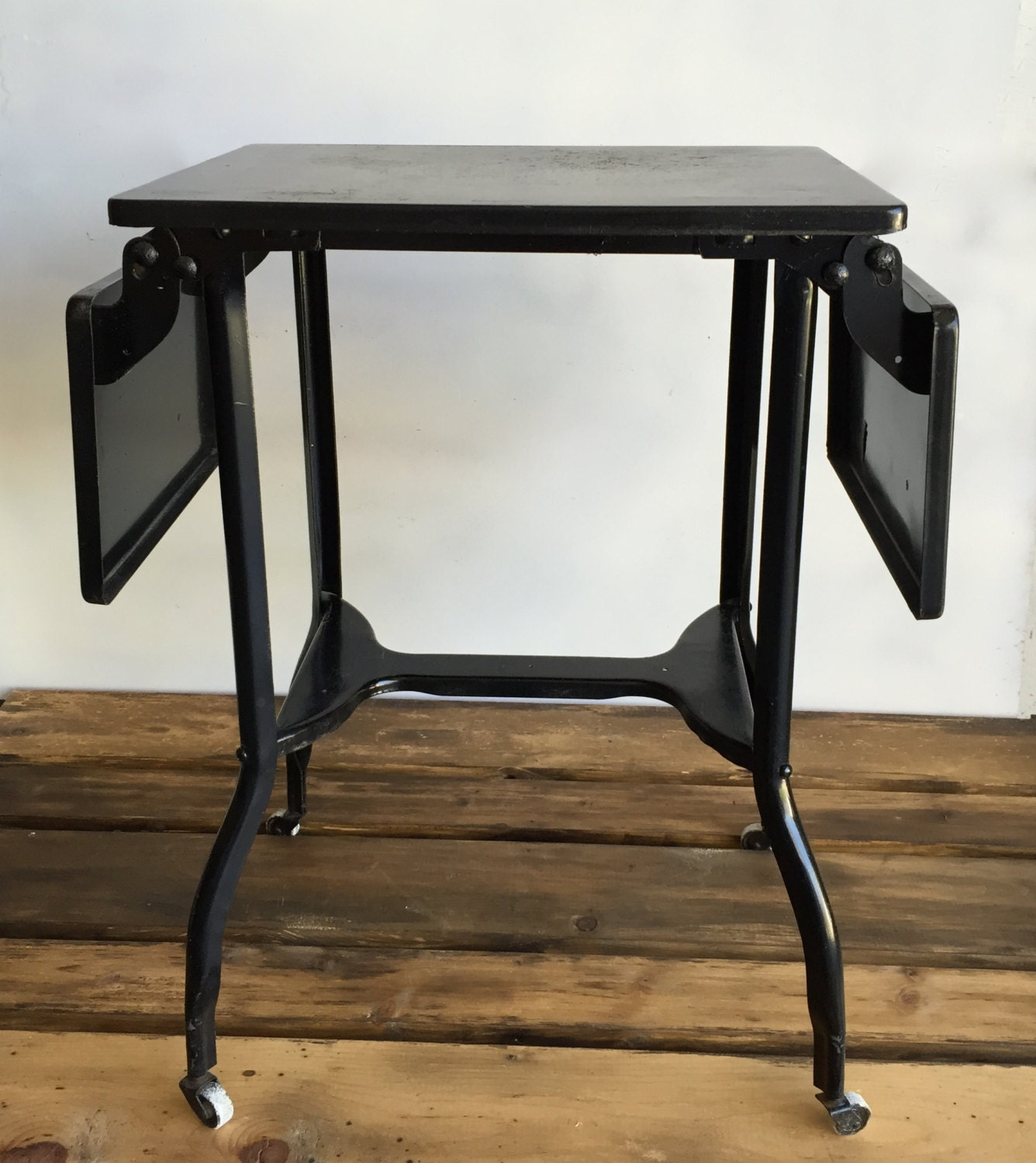 Black Vintage Metal Typing Table With Fold Down Leaves On  Wheels/Casters End Table, Bar Cart, Printer Stand, Outdoor Side Table