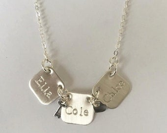 "Personalized Custom Necklace With Three 1/2"" rounded squares and Charms"