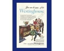 WESTINGHOUSE RADIO - Phonograph Original 1948 Vintage Color Print Ad - Bobby Soxer /Teenagers Dancing to Music