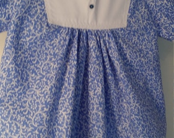 12 - 18 mos Cornflower blue and white a line dress