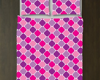 Quatrefoil Bedding Set-Duvet Cover and Shams-Hot Pink-Purple-Customize with ANY COLORS-Twin/Twin XL, Full/Queen, King-Size-Dorm Room Bed