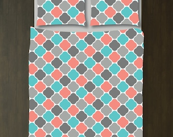 Quatrefoil Bedding Set-Duvet Cover and Shams-Pool-Coral-Grey-Customize with ANY COLORS-Twin/Twin XL, Full/Queen, King-Size-Dorm Room Bed