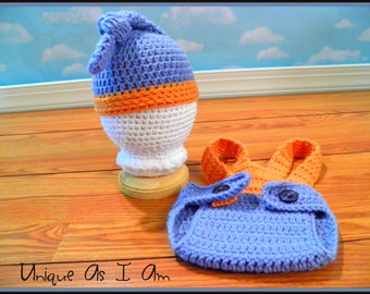Crocheted Baby Knot Top Hat and Suspender Diaper Cover/Photo Prop