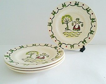 Vintage Metlox PoppyTrail Provincial Homestead salad/dessert plates (4), 1950's Collectible Replacements/Rustic/Country Farmhouse/USA Made