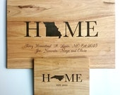 Home State Wood Cutting Board: Small, Medium, Large, Bamboo and Hardwood