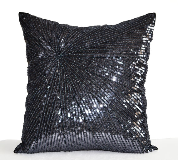 Grey Sequin Throw Pillow : Items similar to Decorative Throw Pillow Cover, Silver Grey Sequin Pillow Case, Grey Bead ...