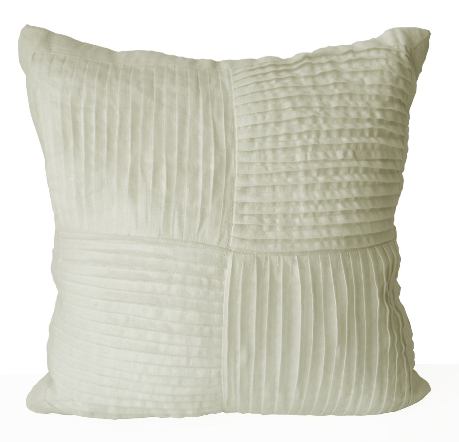 Decorative Pillow Ivory : Decorative Pillow Cover Ivory Pleated Linen Pillow Case