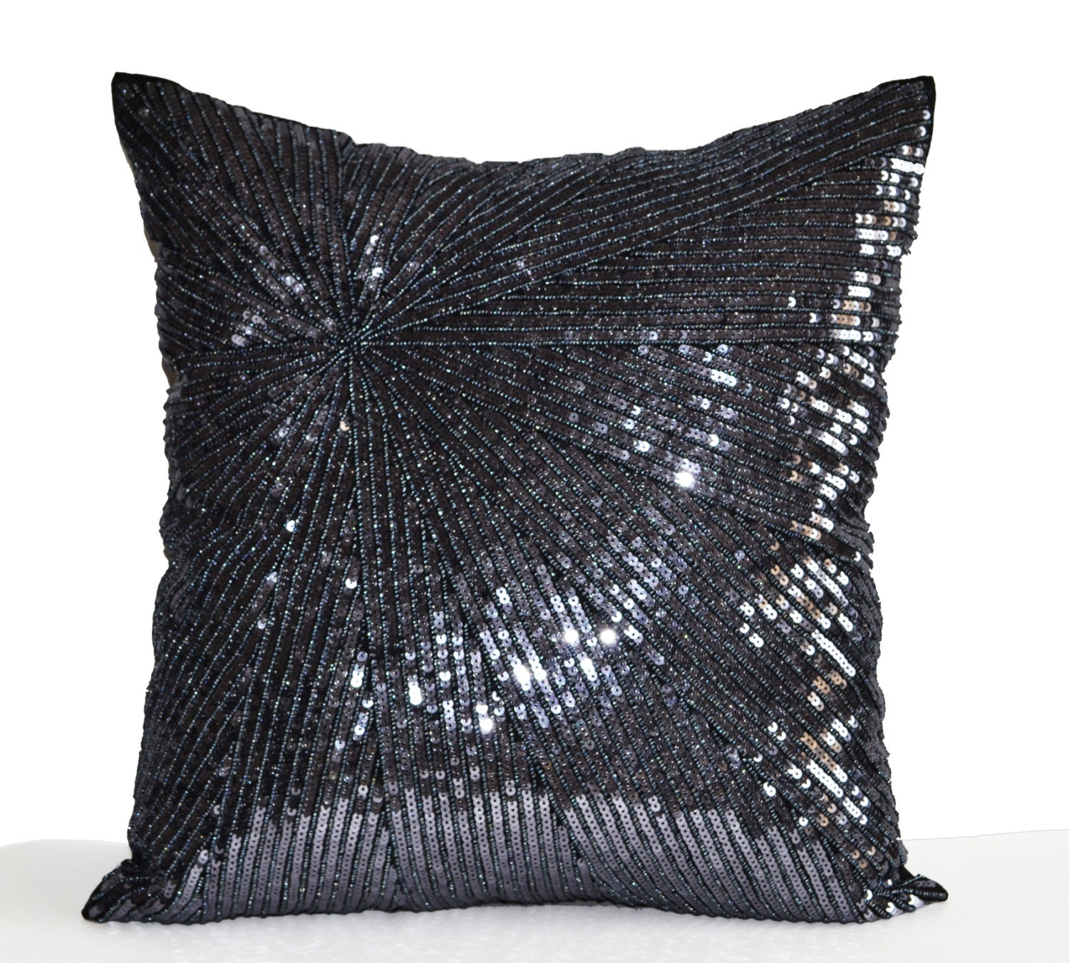 Decorative throw pillow cover silver grey sequin pillow case for Decor pillows