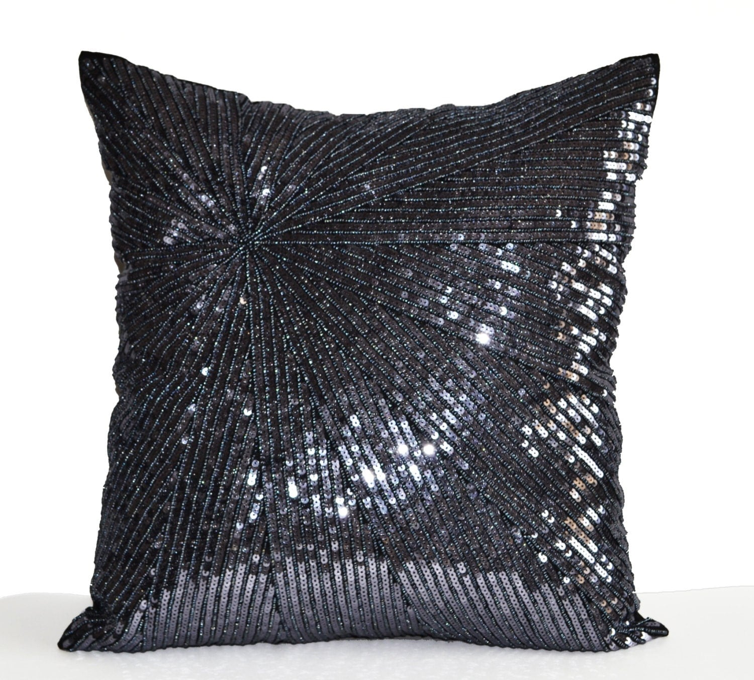 Decorative Pillows With Sequins : Decorative Throw Pillow Cover Silver Grey Sequin Pillow Case