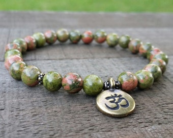 Unakite mala stretch chakra bracelet om charm earthy bracelet yogo bracelet energy bracelet wrist mala chakra bracelet