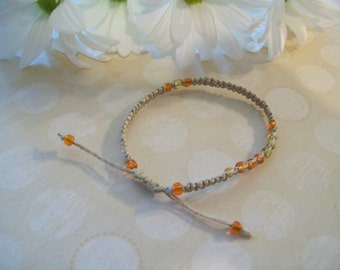 Delicate Macrame Bracelet, Glass E-Beads, Sliding Knot Closure