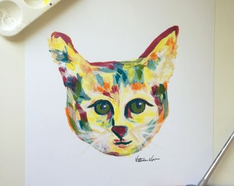 """Colorful Cat Print from Acrylic Painting- """"Regina"""""""