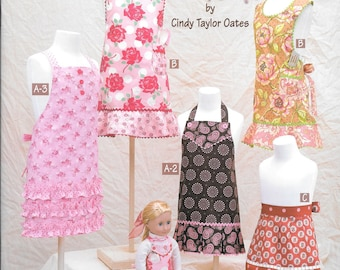 "Little Retro Arons for Kids, Taylor Made Childs Apron Book, Sizes 4-12 plus doll apron for 18"" doll, Free Shipping in the US"