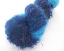 Gradient yarn, Hand Dyed, Blues, Young goat Mohair Yarn, Edible Dye.