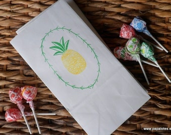 Pineapple Hand Stamped Paper Sacks
