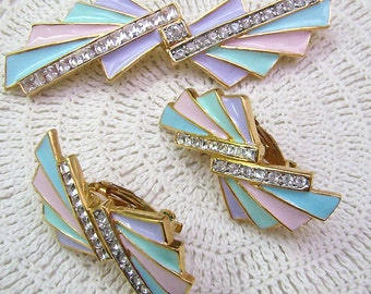 "EIGHT TREASURY Lists....Vintage ""BUTLER"" Brooch...Pastel Enamel Earrings...Fifth Avenue Rhinestone Enamel Brooch Set"