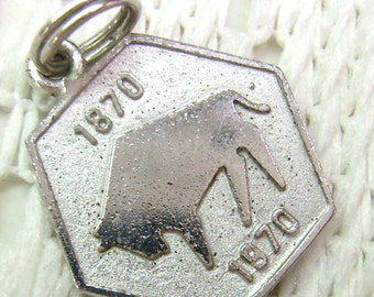 "Vintage Sterling SIlver ""Centennial 100 Year"" Charm....1870-1970...Two Sided...""The Spirit of 70""...Souvenir"