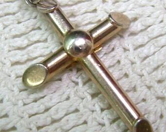 Vintage Sterling Cross Pendant...BOND BOYD...Gold Wash...Religious Cross...Cross Jewelry...Simplistic Cross...
