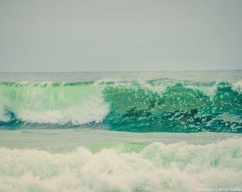 "Beach Photography - sea green ocean wave California 11x14 16x20 mint beach bedroom decor blue ocean wall art 8x10 ""Sea Reverie"""