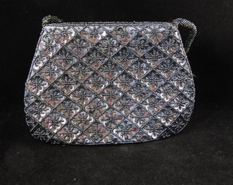 Vintage black purse beaded