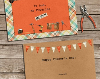 "Instant Download & Print Father's Day Card ""Mr. Fix It"""