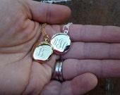 Engraved Monogram Small Locket Necklace -  Interlocking Vine, Bridesmaids Gift, PersonalizedJewelry, Mom Jewelry, Silver or Gold Tone