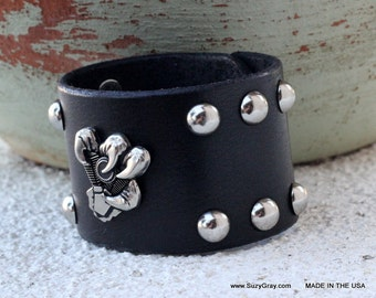 Leather Biker Cuff - Black Leather Biker Cuff - Black Biker Leather Cuff with Studs and Claw Concho