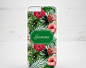 Personalised iPhone 6 Case iPhone 5c iPhone 5s iPhone 6 plus cover - monogrammed name monogram - Floral Flowers Tropical Exotic - PC0003