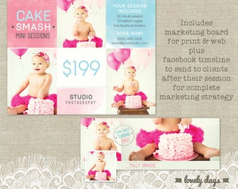 Cake Smash Mini Session Template PLUS Facebook Timeline Marketing for Photographers INSTANT DOWNLOAD