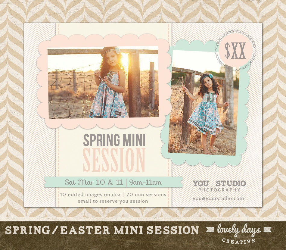spring mini session marketing board flyer ad template for 🔎zoom