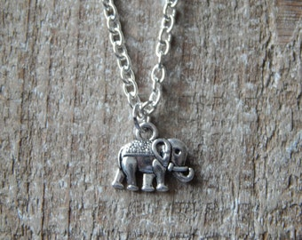 Lucky Elephant Necklace Tiny Silver Elephant Charm  Necklace, Dainty Silver Necklace, Charm Necklace, Charm Pendant, Elephant Jewellery